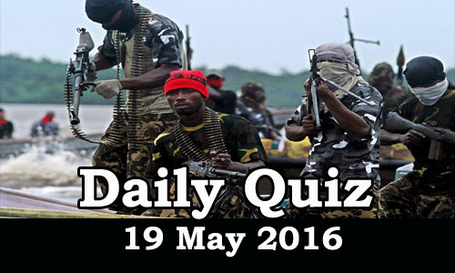 Daily Current Affairs Quiz - 19 May 2016