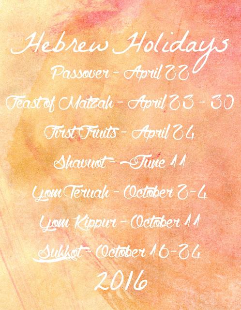 Hebrew Holidays 2016   Land of Honey