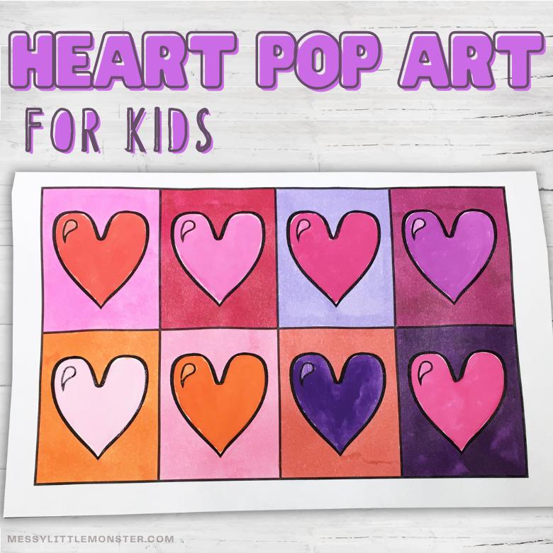 Heart pop art for kids