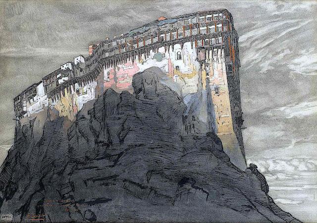 Paul Jouve art, a clifftop fortress in sunset