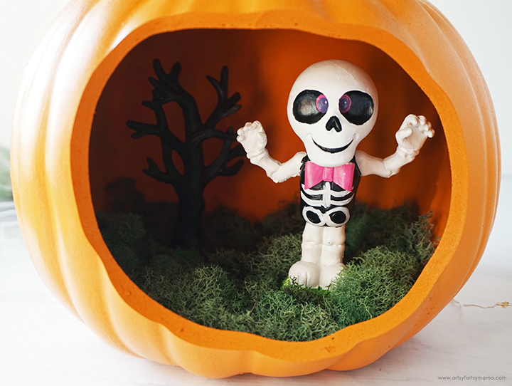 Pumpkin Diorama with Skeleton and Moss