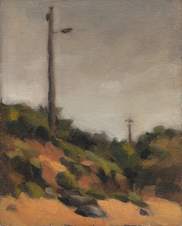Landscape oil painting of electricity poles on sand dunes.