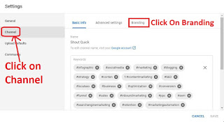 Click Channel button and branding Button