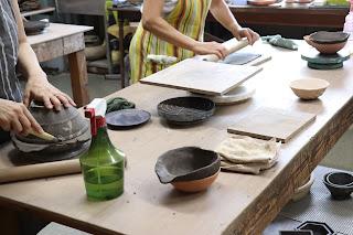 山野草盆栽の鉢の陶芸体験教室 陶盤つくり