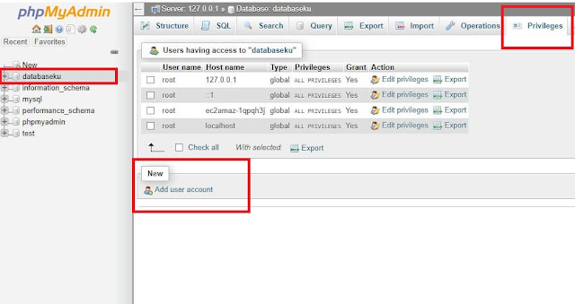 add user account database phpmyadmin