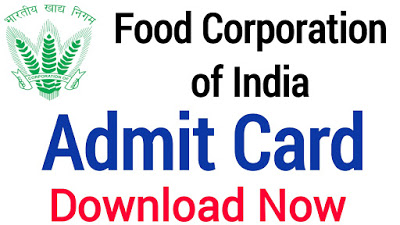 FCI Manager Admit Card Download 2021 Exam Date Out