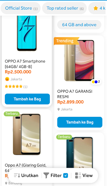 Jual oppo a7