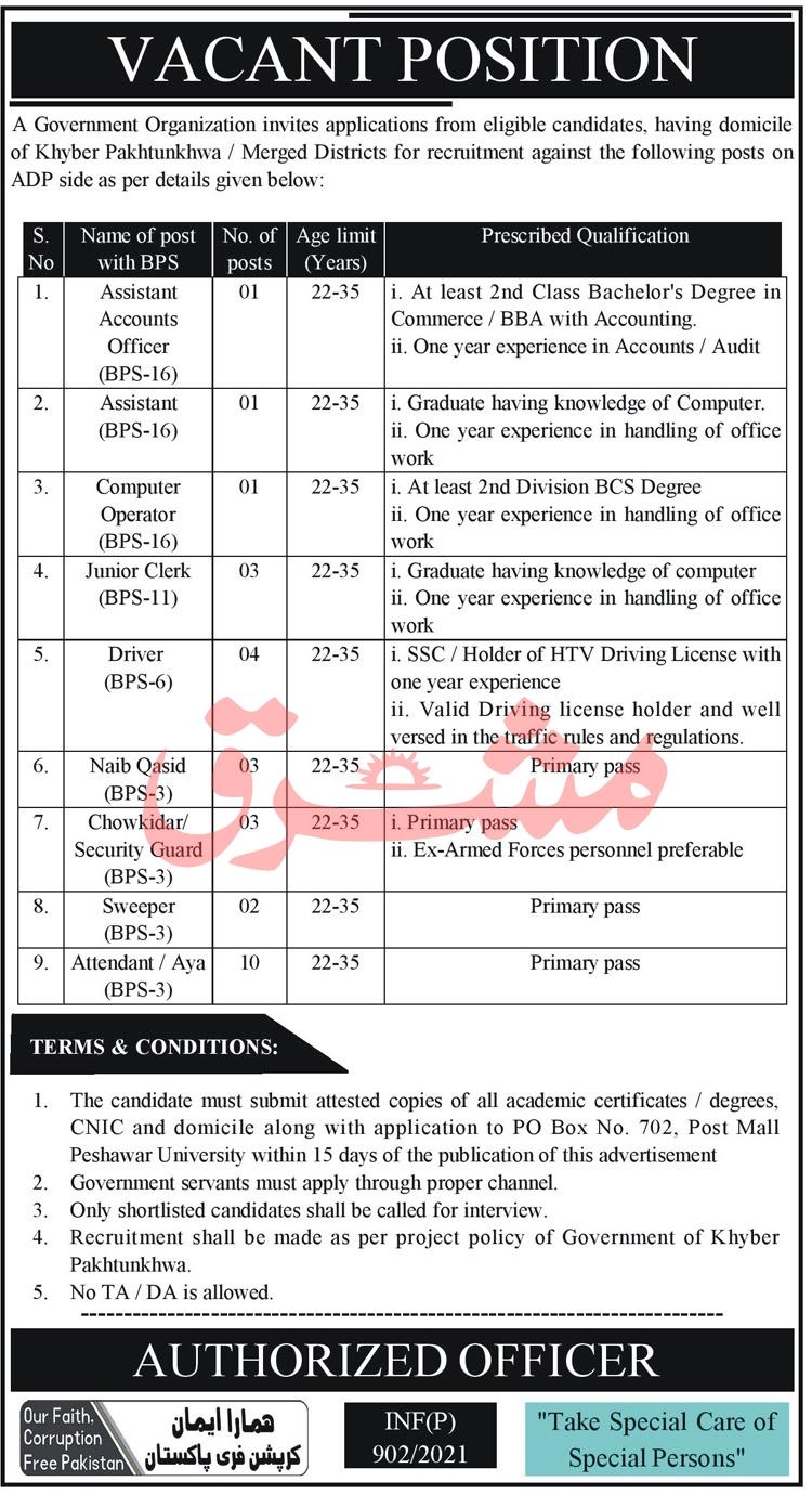 Government Organization PO Box 702 Jobs 2021 in Pakistan - Peshawar Jobs 2021 - New KPK Govt Jobs 2021
