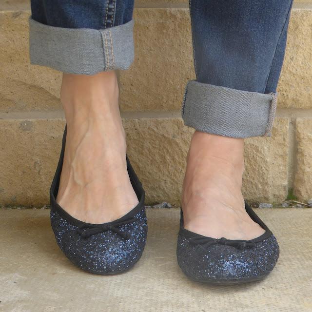 Navy glitter ballerina shoes by Kurt Geiger