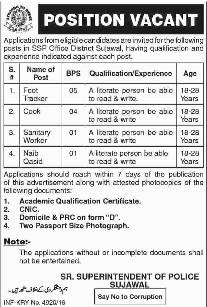 Office District Sujawal Sindh Police SSP Jobs