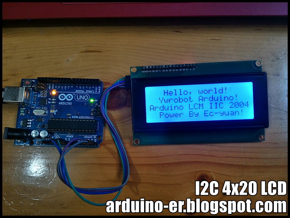 Arduino-er: I2C 4x20 LCD, test on Arduino Uno using