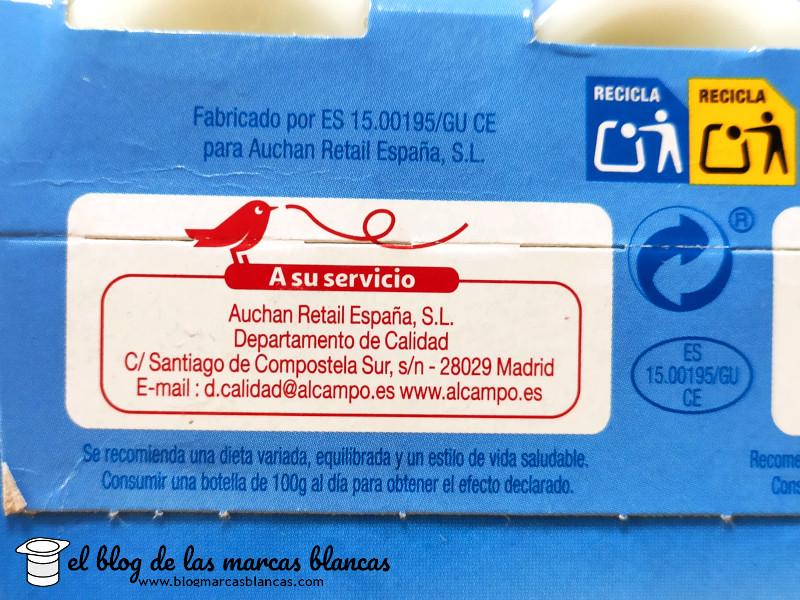 Lactalis Nestlé fabrica el L.casei natural desnatado (tipo Actimel) AUCHAN de Alcampo en El Blog de las Marcas Blancas.