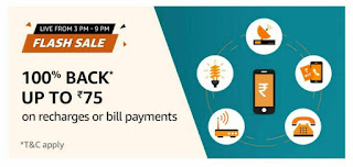 Amazon Free Recharge Fresh Sale:- Rs.75Free Recharge/Bill Today