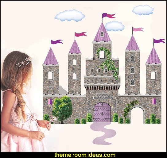 Fairytale Princess Castle Wall Decals  princess bedroom ideas - Princess room decor‎ - Princess style bedrooms - castle theme beds - Princess bedroom furniture - Princess themed bedrooms - fairy princess theme bedroom ideas - Princess bed - Disney Princess room ideas -   Cinderella Carriage Bed - Cinderella bedroom ideas - Pumpkin Bed - crown pillows - princess theme baby nursery decorating ideas - cinderella coach Table Lamp