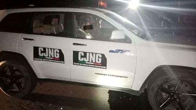 Sicarios le roban camioneta a candidato de Zacatecas y como burla aparece rotulada con siglas de El CJNG