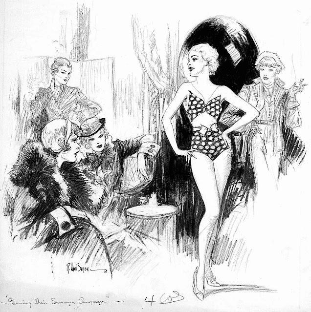 a Raeburn Van Buren illustration 1934, a woman modeling a bathing suit