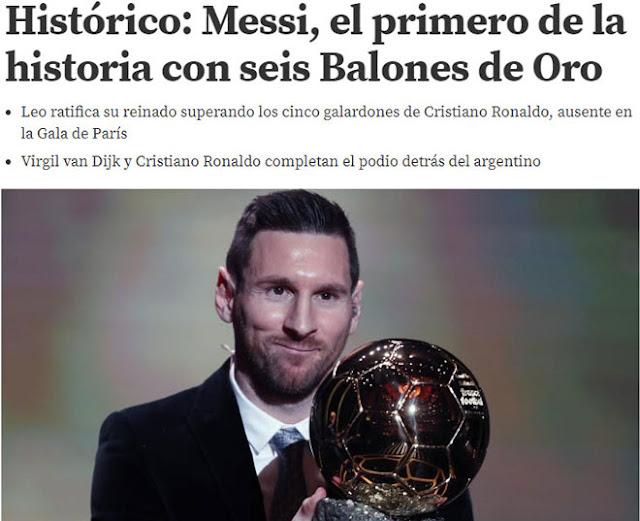 """Messi vượt Ronaldo giành 6 Bóng vàng: Báo chí nể phục, mệnh danh là """"Vua"""""""