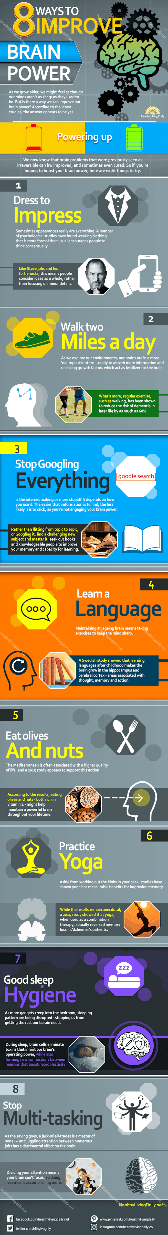 8 Ways To Improve Your Brain Power #infographic #Health #Brain Power #infographics #Health & Wellness #Infographic
