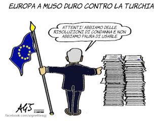 turchia, europa, curdi, risoluzioni di condanna, erdogan, UE, politica internazionale, vignetta, satira