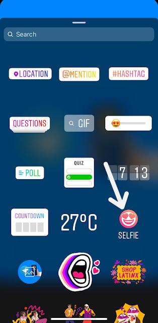 Click selfie option on story