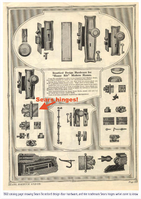 sepia and black and white page of hardware from 1922 Sears building materials catalog