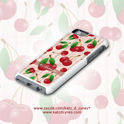 cherries on pastel plaid cases and gifts