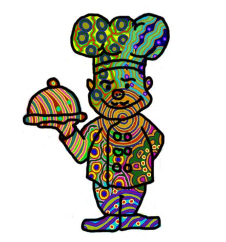 Illusztráció gyerekvershez, digitális rajz pszichedelikus retro 60s mintázatú szakácsról, kezében letakart tálon wasabis ratatouille tzatzikivel.