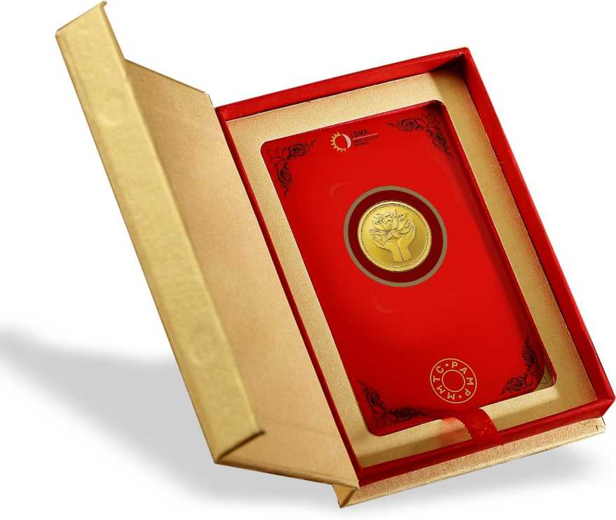 MMTC-PAMP India Pvt Ltd Lotus series 24 (9999) K 2 g Gold Coin PACKAGING