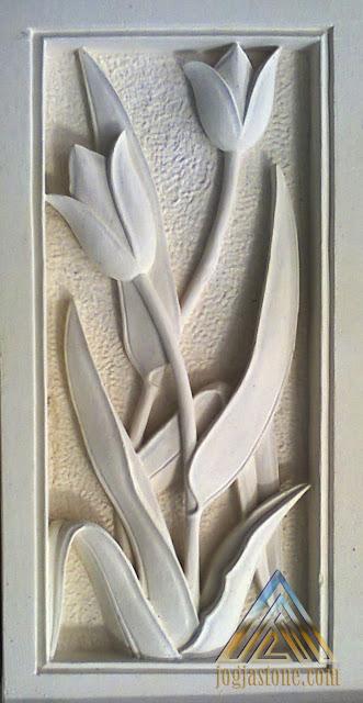 Relief batu alam paras jogja, batu paras putih motif bunga tulip