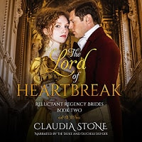 Lord of Heartbreak audiobook cover. A couple in historical clothing embrace.