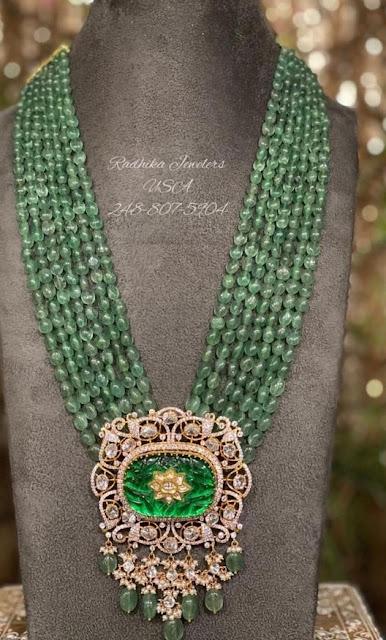 Green Beads Set with Diamond Pendant