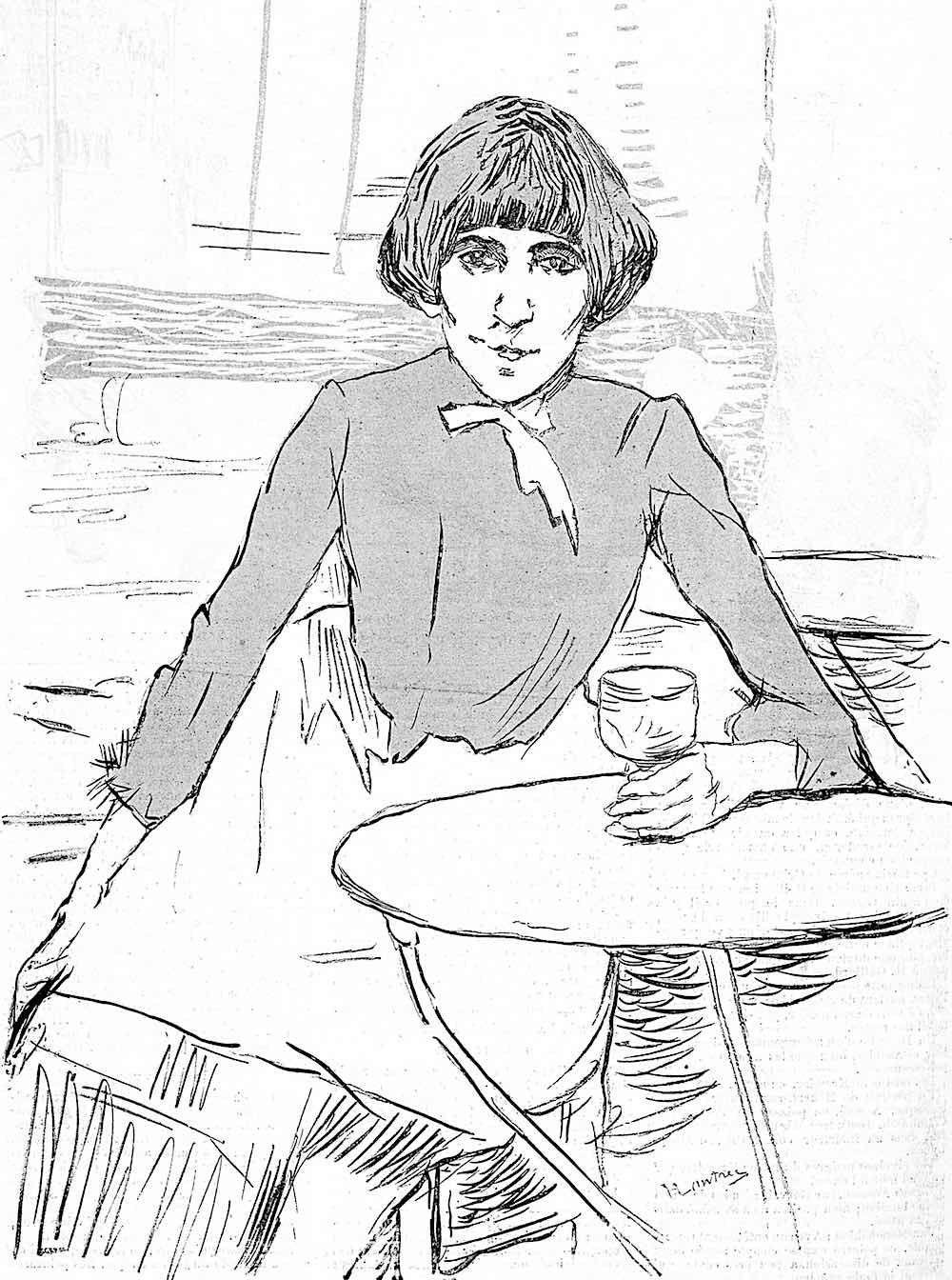 a drawing by Toulouse-Lautrec 1889, a woman sitting with a glass of wine
