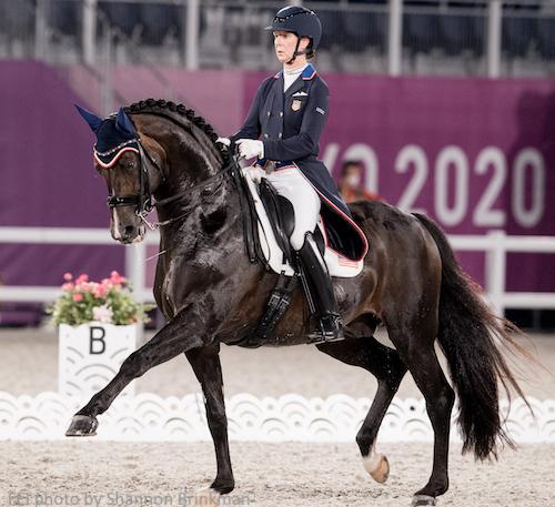 Sabine Schut-Kery of Team USA rode Sanceo at Tokyo Olympics 2020 dressage events.