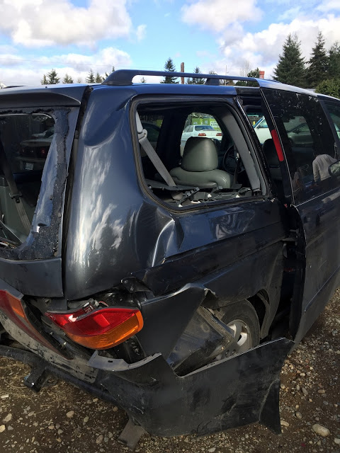 back of mini van after rear end crash