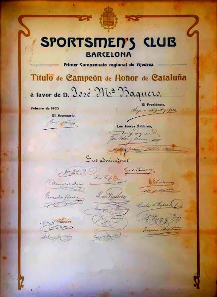 Título de Campeón de Honor de Catalunya de José María Baquero Vidal