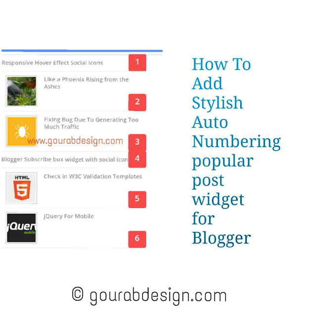 blogger popular post widget with auto numbering and thumbnail