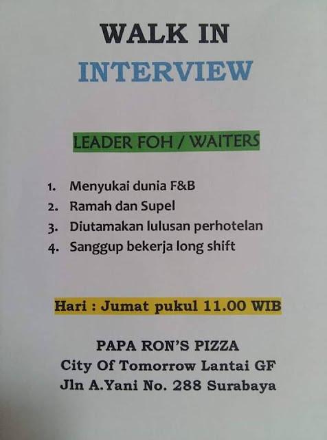 Lowongan Kerja waiters paparons pizza