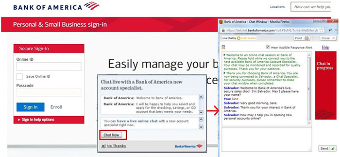bank of america live chat