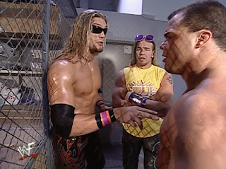 WWE / WWF Judgement Day 2001 - Kurt Angle catches up with Edge & Christian backstage