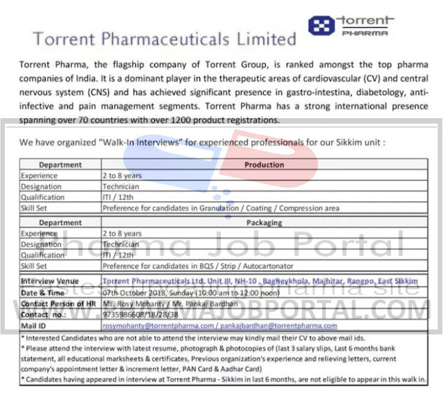 Torrent Pharmaceuticals Ltd Walk In Interview For Multiple Positions at 7 Oct.
