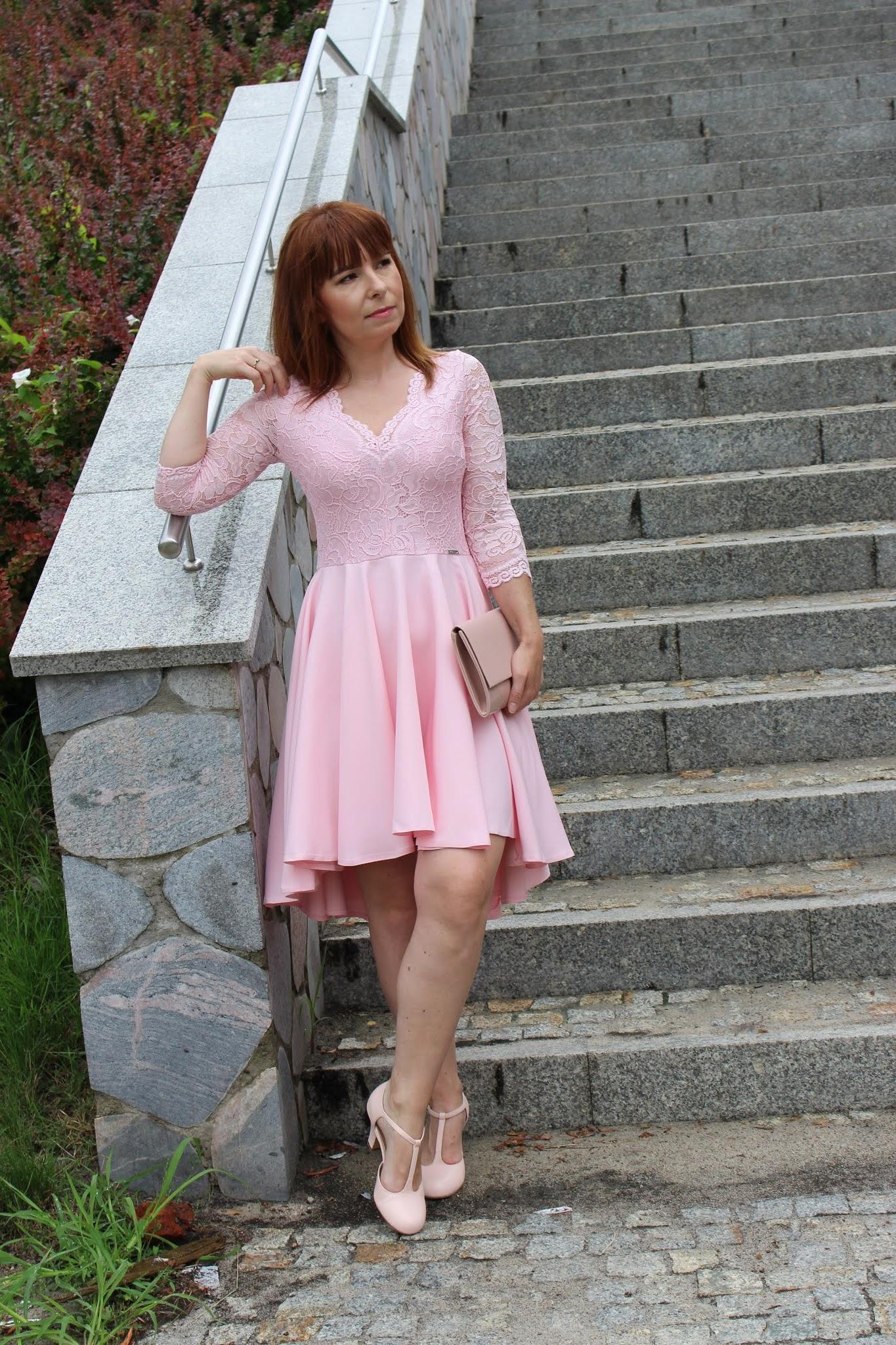 nicolle sukienka pastelowy róż fashionmb