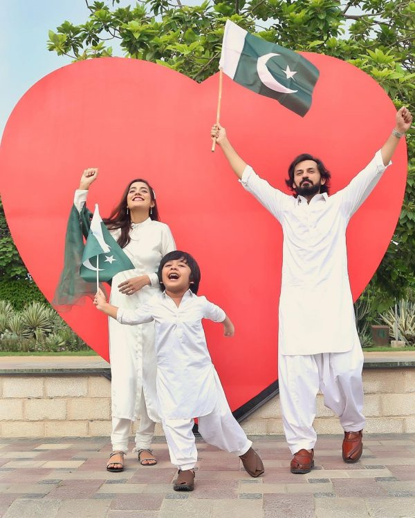 Bilal and Uroosa Qureshi Celebrating Jashan-e-Azaadi