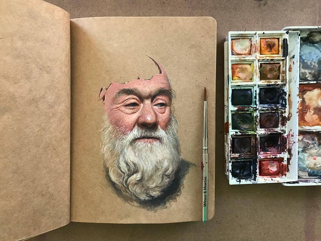 01-Raoof-Haghighi-Gouache-Acrylic-and-Watercolour-Paintings-on-a-Sketchbook-www-designstack-co