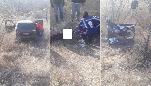 Colisão entre carro e moto deixa popular ferido na PB 393, no alto sertão da PB