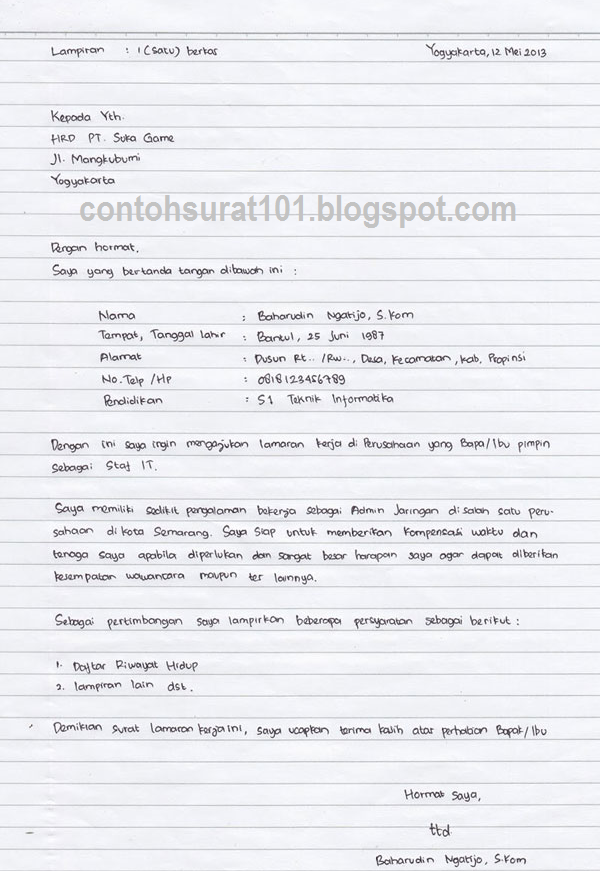 Contoh Surat Lamaran Kerja Tulis Tangan Kertas Folio Dan Hvs Beritatop