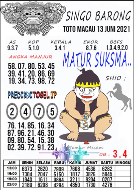Syair Top Singo Barong Toto Macau Minggu 13 Juni 2021