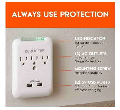 ECHOGEAR Surge Protector 3 AC Outlets & 2 USB Ports