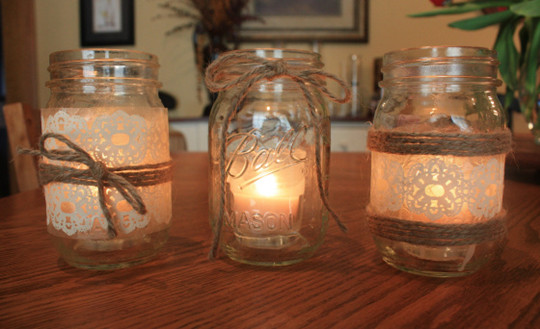 Mason Jar Candle Holders autumn rustic wedding