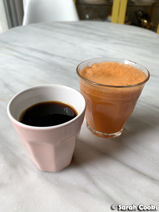Coffee and carrot juice