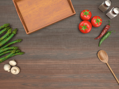 3D Food on wooden table top view